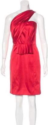 Oscar de la Renta Strapless Silk Dress Red Strapless Silk Dress