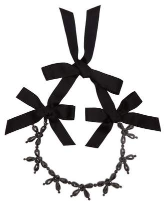 Simone Rocha Crystal And Bow Necklace - Womens - Black