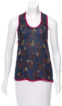 Timo Weiland Silk Floral Print Top