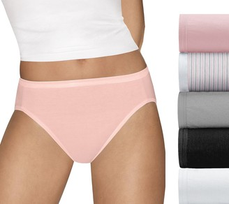 Hanes Set of 5 Ultimate Cotton Comfort Hi-CutPanties