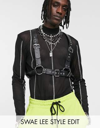 Asos Design DESIGN faux leather chest harness with studding