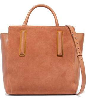 Halston Paneled Suede And Leather Shoulder Bag
