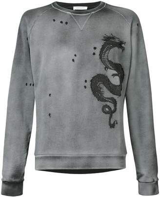 Pierre Balmain embroidered dragon sweatshirt