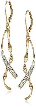 10k Yellow Gold Ribbon Diamond-Accent Earrings