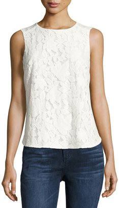 CeCe by Cynthia Steffe Sleeveless Palm Lace Top, Ivory $55 thestylecure.com