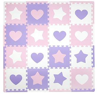 "Tadpoles Soft EVA Foam 16pc Playmat Set, Hearts and Stars, Pink/Purple/White, 50""x50"""