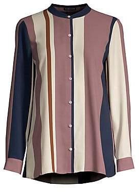 Eileen Fisher Women's Mandarin Collar Silk Shirt