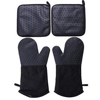 Webake 2pcs Silicone Oven Mitts Gloves and 2pcs Pot Holders Set for Finger Hand Wrist Protection
