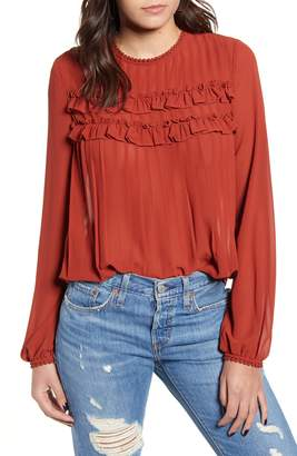 Endless Rose Ruffle & Lace Detail Chiffon Blouse