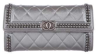 Chanel 2016 Aged Calfskin Boy Zip-Around Wallet