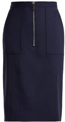 Altuzarra Pollard Wool Pique Pencil Skirt - Womens - Navy