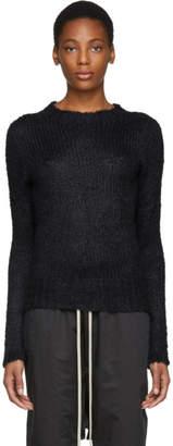 Rick Owens Black Silk Seamless Biker Lupetto Sweater