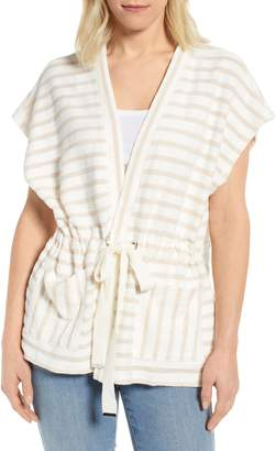 Bobeau Patty Stripe Short Sleeve Cotton Blend Cardigan