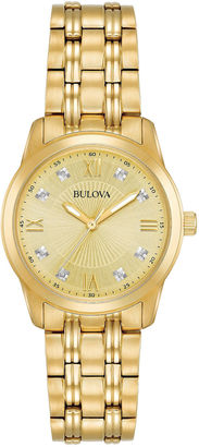 Bulova Womens Gold Tone Bracelet Watch-97p119 $350 thestylecure.com