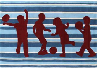 Funky Striped Kids Blue Tufted Rug