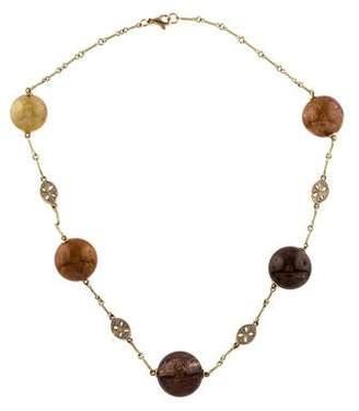 14K Diamond & Rutilated Quartz Bead Necklace