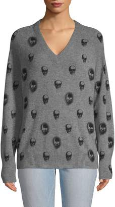 360 Cashmere Skull-Print Cashmere Sweater