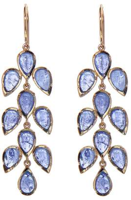 Irene Neuwirth Long Tanzanite Leaf Earrings - Rose Gold