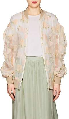 08sircus Women's Floral Sheer Organza Bomber Jacket