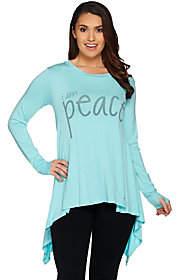 Peace Love World Long Sleeve Knit Top withAsymmetric Hem