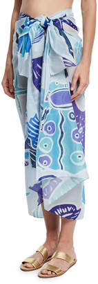 Anna Coroneo Cotton Voile Shell Scarf, Light Blue