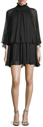 Caroline Constas Mock-Neck Long-Sleeve Silk Chiffon Mini Dress