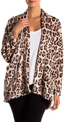 Natori N Leopard Print Fleece Jacket