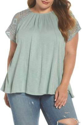 Lucky Brand Lace Sleeve Top