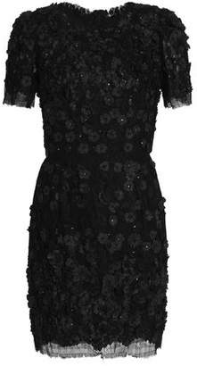 Dolce & Gabbana Floral-Appliquéd Lace Midi Dress