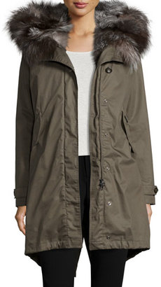 Woolrich Literary Fur-Trim Cotton Parka Coat, Military Olive $1,395 thestylecure.com