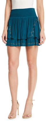 Ramy Brook Adelaide Tiered Embellished Mini Skirt