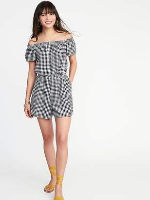 Old Navy Off-the-Shoulder Gingham Romper for Women