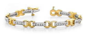 Smjewels 1.00 Ct D/VVS1 Diamond Classic Figure 8 Link Bracelet in 14K Gold Plated
