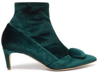 Rupert Sanderson Glynn Velvet Ankle Boots - Womens - Dark Green