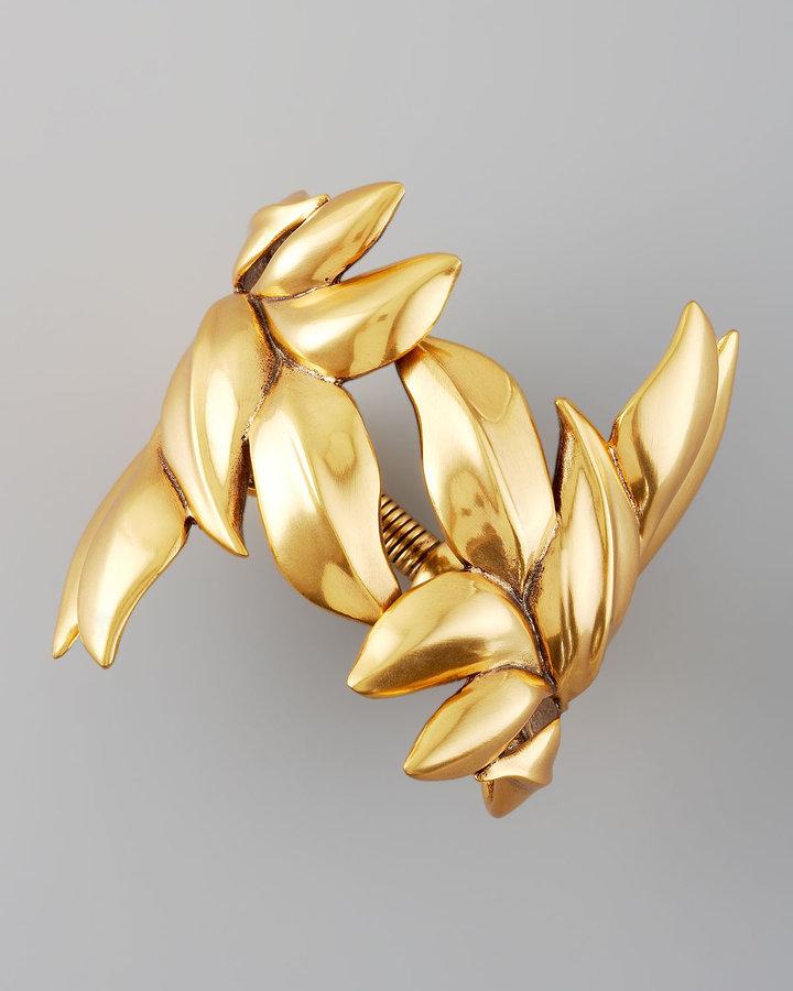 Oscar de la Renta Gold Leaf Bracelet