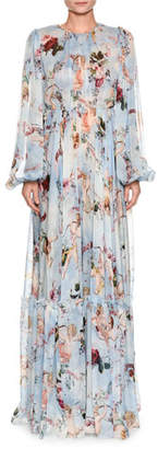 Dolce & Gabbana Long-Sleeve Cherub-Print Chiffon Jumpsuit