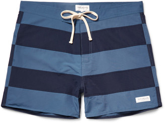 Saturdays NYC Grant Mid-Length Striped Swim Shorts $85 thestylecure.com