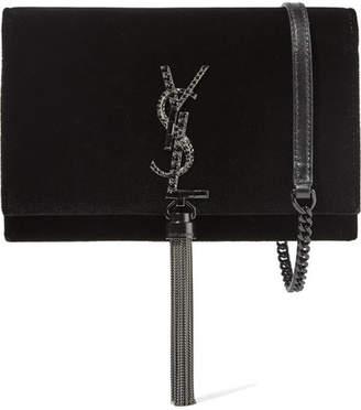 Saint Laurent Monogramme Kate Medium Velvet Shoulder Bag - Black