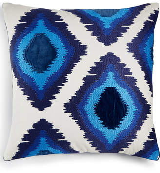 "Lucky Brand Closeout! 20"" x 20"" Embroidered Ikat Decorative Pillow, Created for Macy's Bedding"