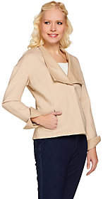 Halston H by Ponte Knit Jacket with LeatherLapel and Cuffs