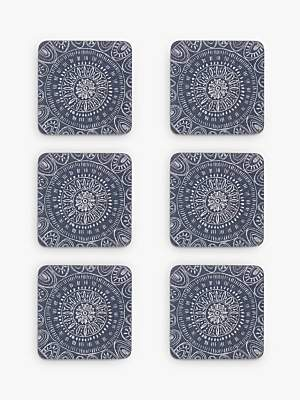 John Lewis & Partners Persia Coasters, Blue, Set of 6