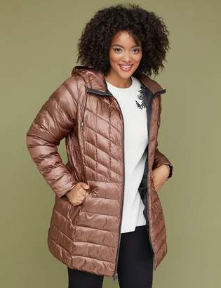 Lane Bryant Midi Packable Puffer Jacket with Thermoplume Technology - Peach Puree