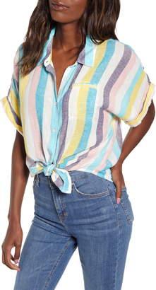 Splendid St. Barths Stripe Short Sleeve Linen Blend Blouse