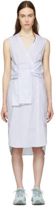 Alexander Wang White and Blue Striped Shirting Tie Front Dress