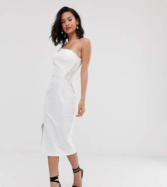 Laced In Love scuba one shoulder strappy pencil dress with lace detail in white