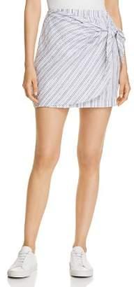 Three Dots Striped Linen Faux-Wrap Skirt