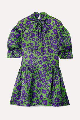 Miu Miu Pussy-bow Silk-jacquard Mini Dress - Green