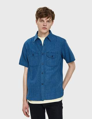 Rogue Territory Work S/S Shirt in Indigo Houndstooth