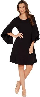 Isaac Mizrahi Live! Pebble Knit Cascade Bell Sleeve Dress