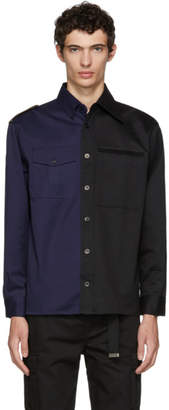Gosha Rubchinskiy Navy and Black Gabardine Shirt